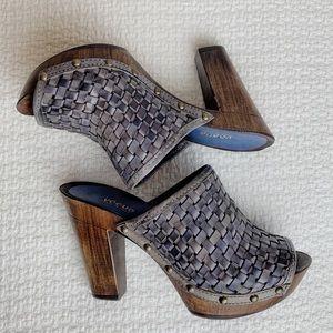 Vintage leather platform clog sandals.